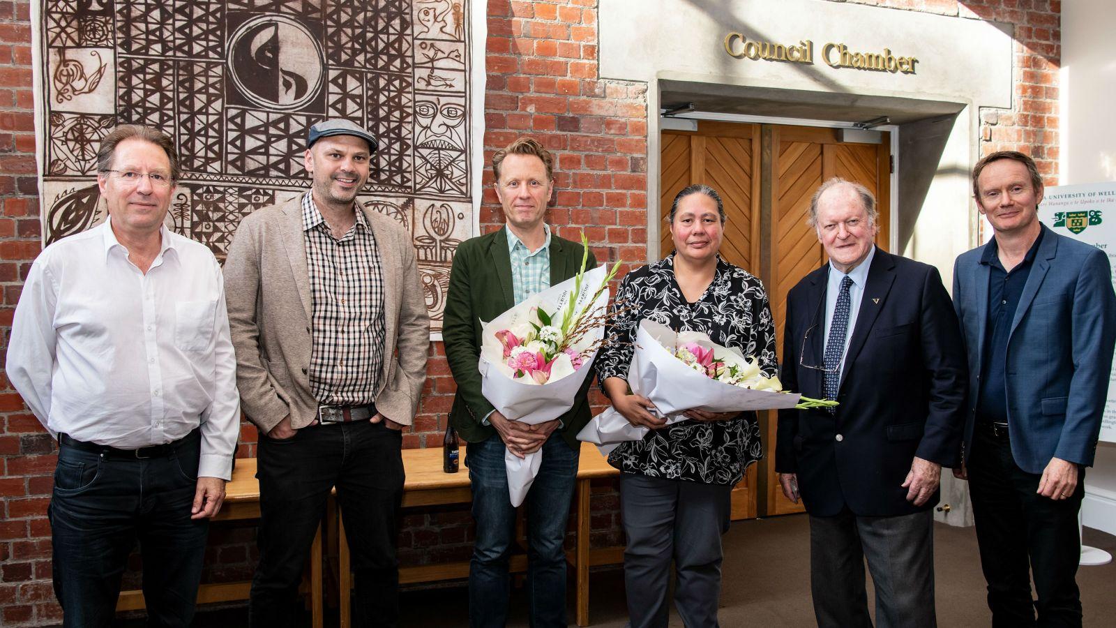 Winners of the David Carson-Parker Embassy Prize in Scriptwriting and the Brad McGann Filmwriting Award, 2019. (Photographer: Robert Cross.)