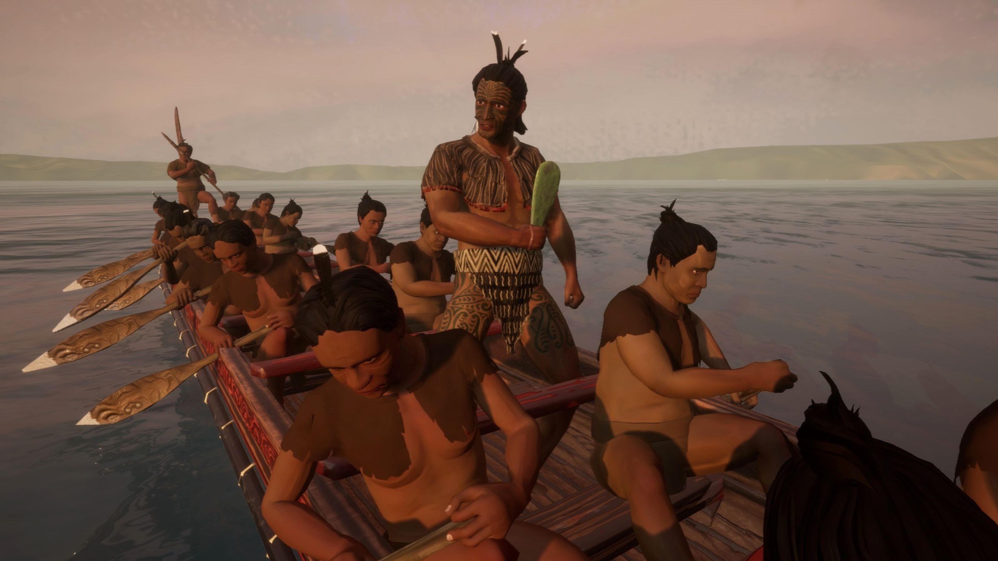 A digital image of Māori on a waka