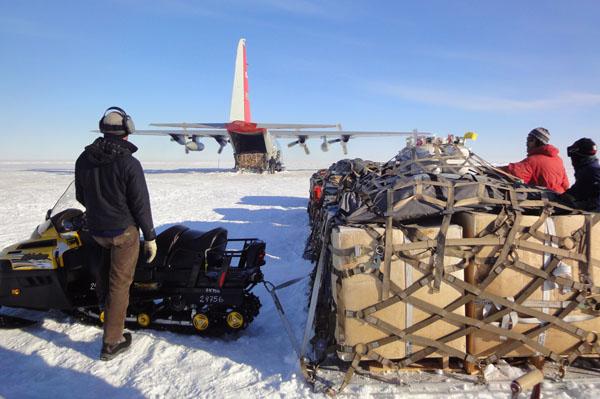 A C-130 Hercules arrives in Antarctica