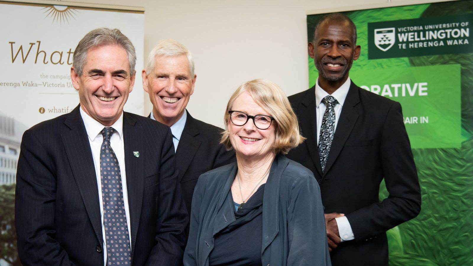 Vice Chancellor Grant Guilford, Chair in Restorative Justice Chris Marshall, Pro Vice Chancellor Wellington School of Business and Government Ian Williamson, and Jenny Gill, Trustee of Grace Memorial Trust.