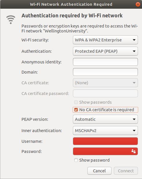 wireless internet connection validating identity