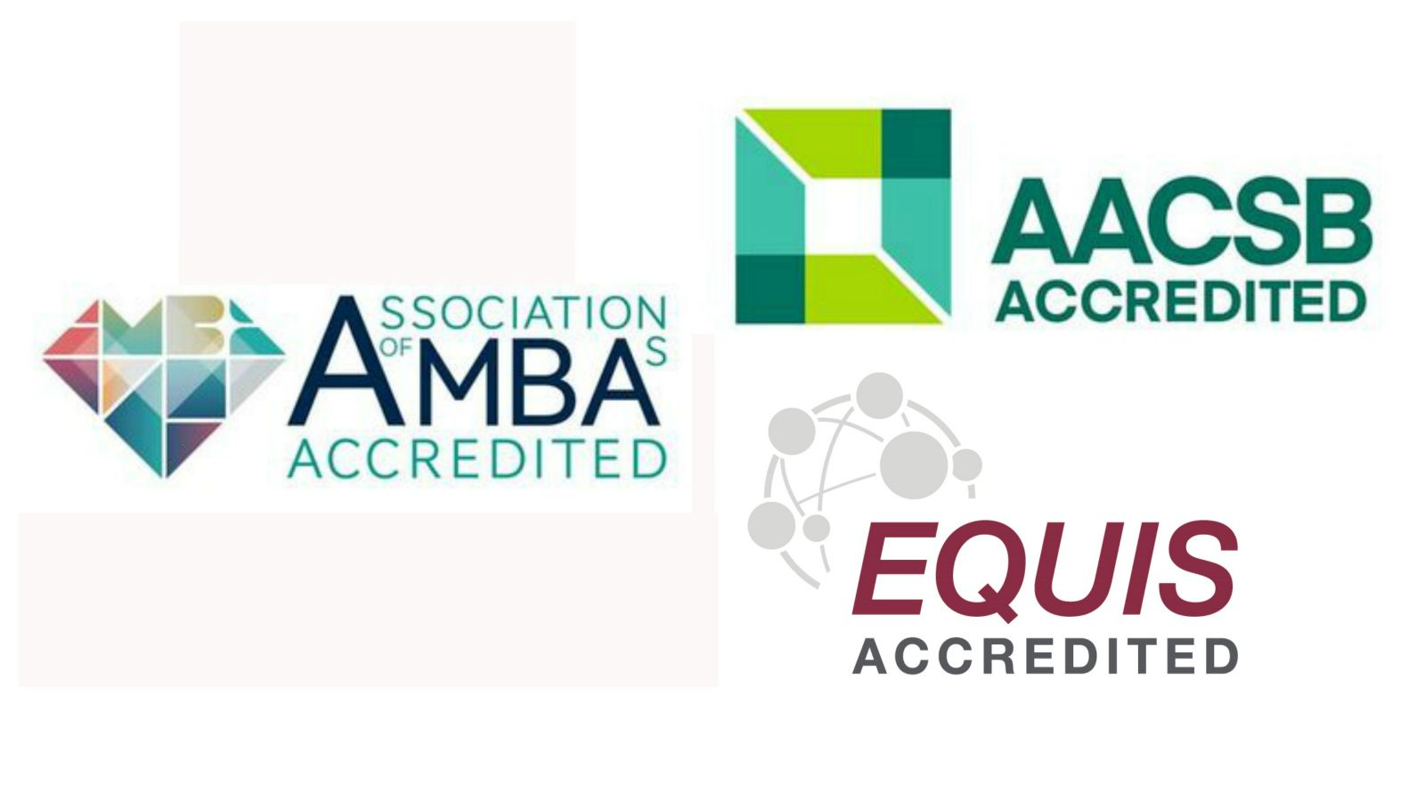 An image with four logos – UNWTO, AACSB, AMBA, and EQUIS.