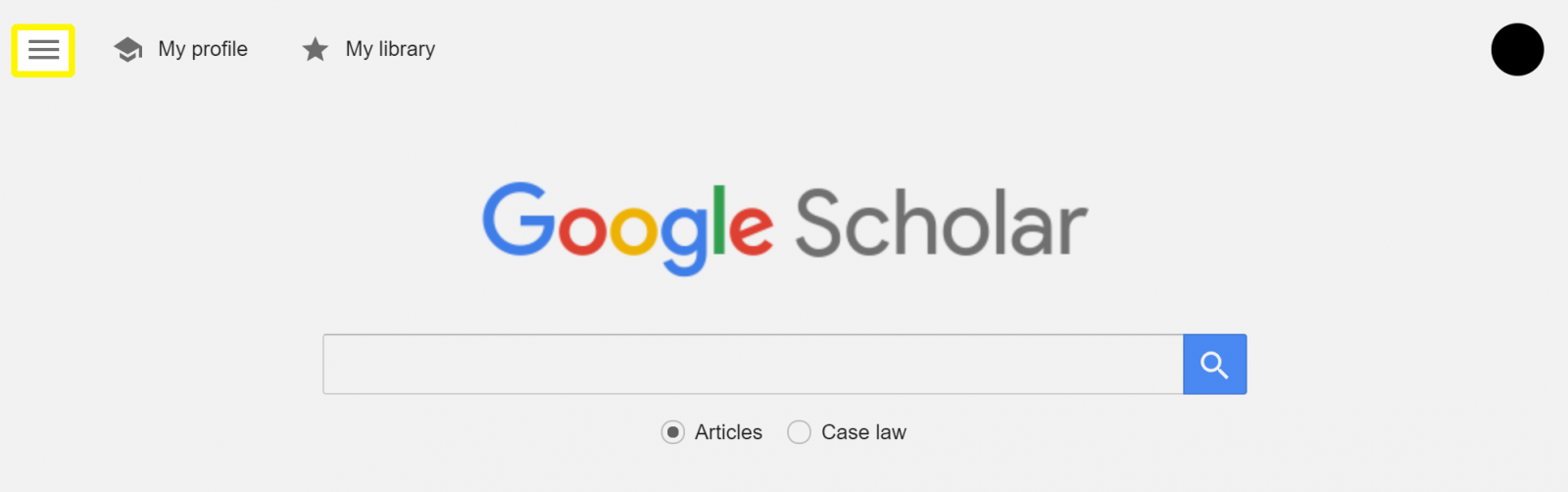 Screenshot of Google Scholar home page indicating menu icon