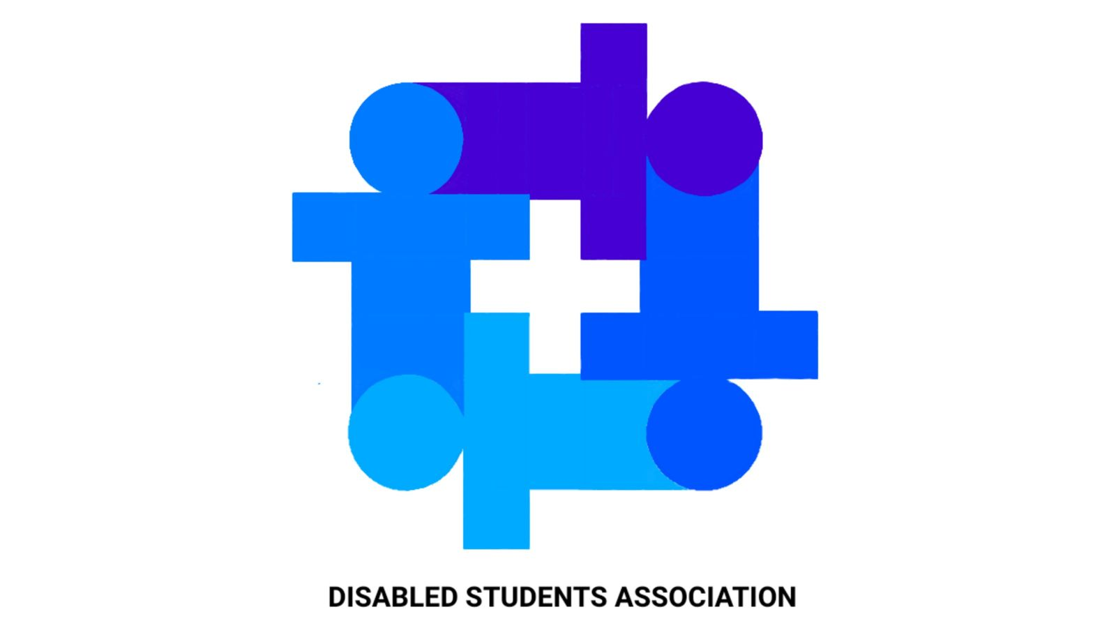 Logo of the disabled students association: four icons of humans, in different shades of blue, forming a white cross in the middle.
