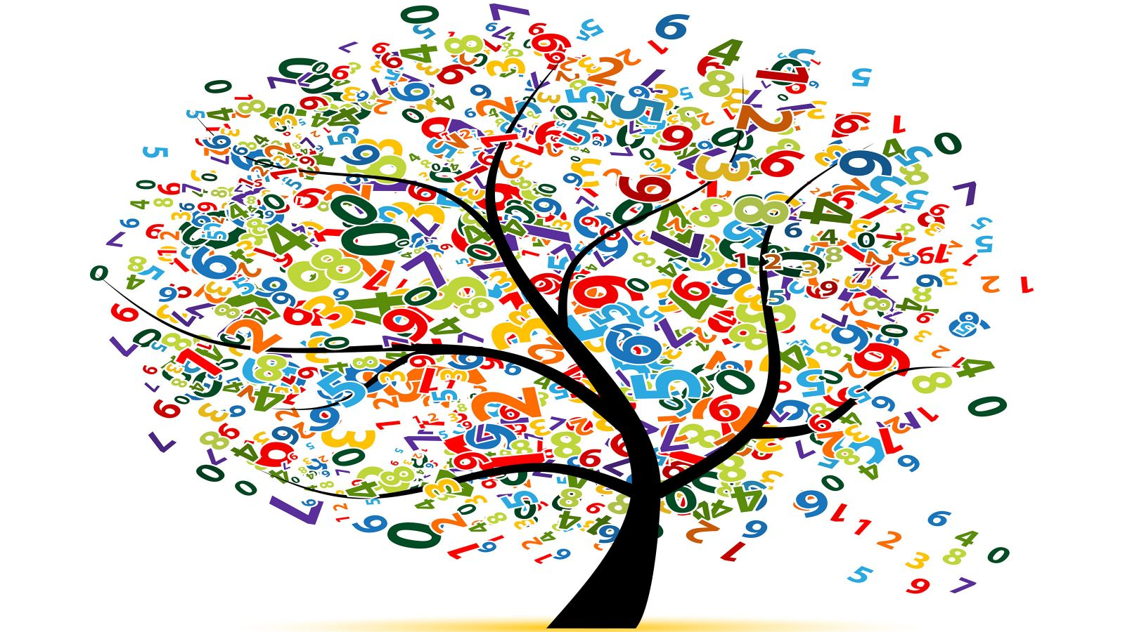 A cartoon tree with leaves made up of numbers