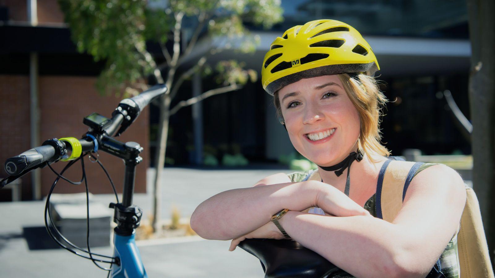 Helen Andreae with her e-bike
