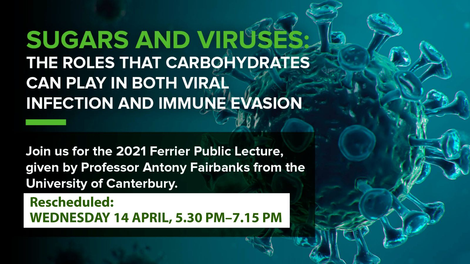 depiction od the SARS-CoV2 virus with invitation text above