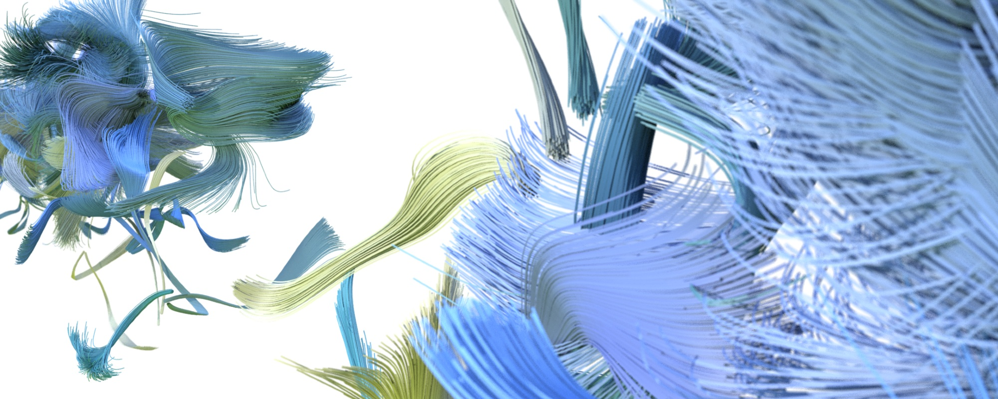 Abstract shapes on white background, resembling brush strokes in blue and green tones, representing brush strokes.