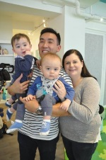 Darren and Sarah with their toddler twins Alexander and Atticus