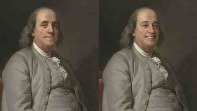 A portrait of Benjamin Franklin on the left and a copy on the right, which has been manipulated by Smilevector so he is smiling.