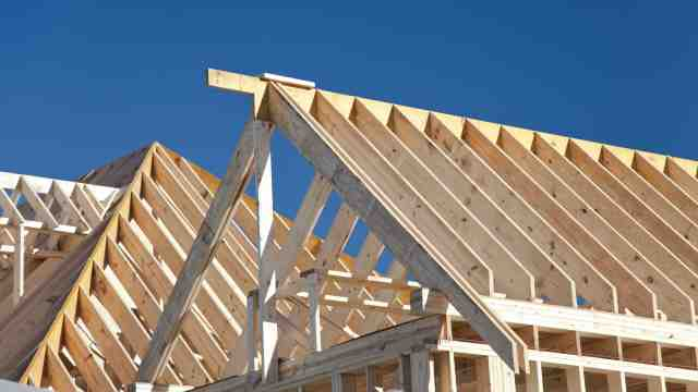 Timber frame of a house under construction.