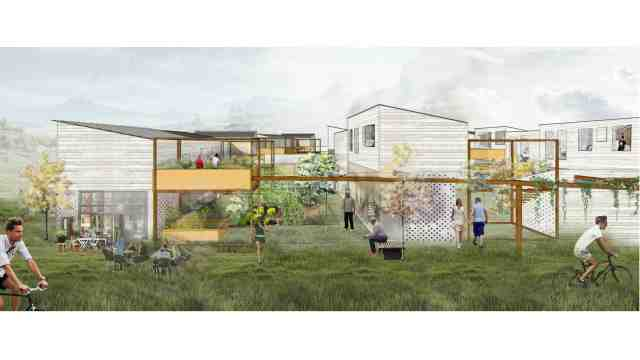 A render of the groups competition entry showing buildings in a U shape with a court yard in the centre with vegetable garden.