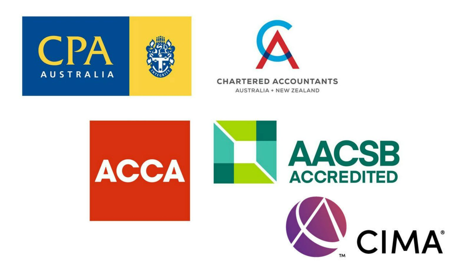 Five logos - CPA Australia, Chartered Accountants, ACCA, AACSB Accredited, CIMA.