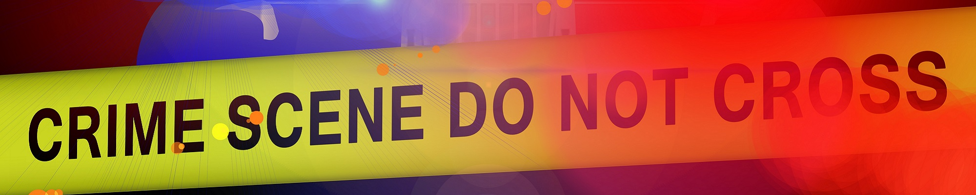 A banner image with yellow police tape and text that reads, crime scene do not cross.