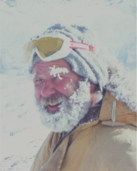 An image of a snow covered Ray Dibble.