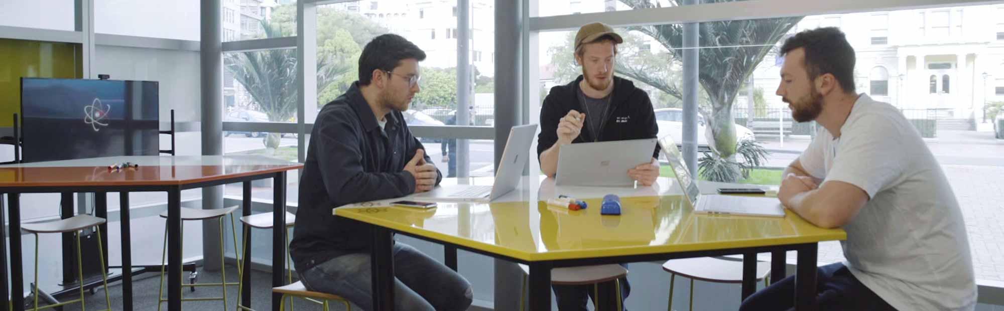 Entrepreneurs using The Atom innovation space.