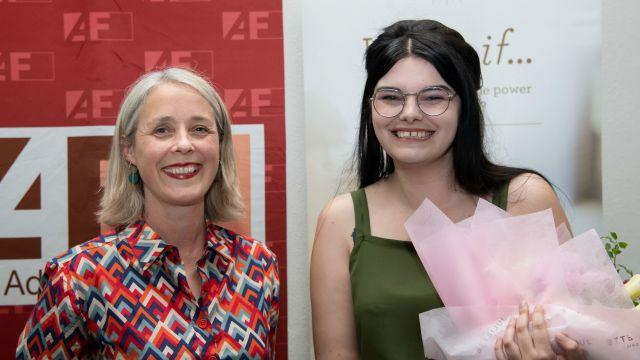 IIML MA Fiction Coordinator Kate Duignan with 2019 Adam Foundation Prize in Creative Writing winner Rebecca K. Reilly