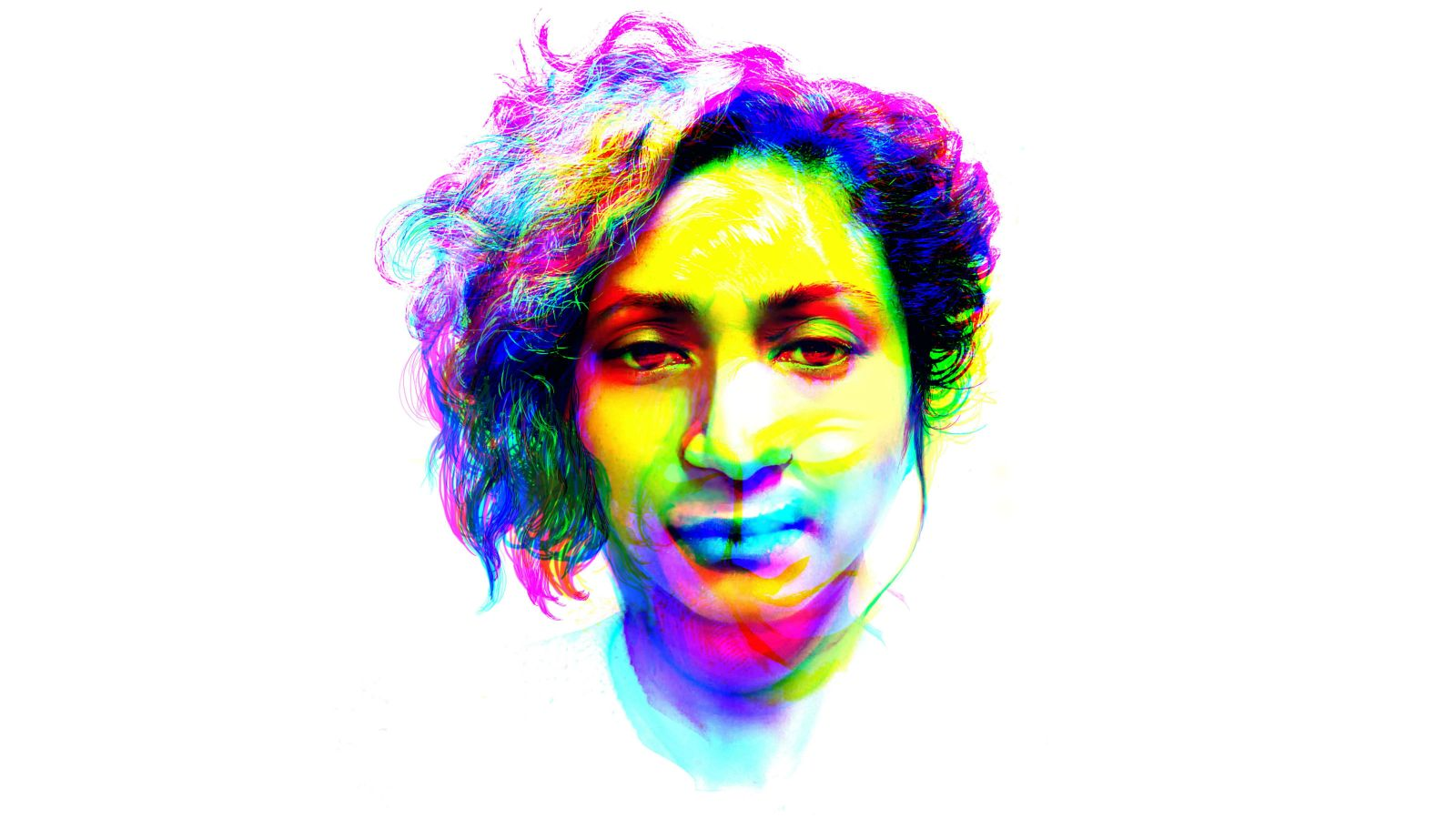 A colourful graphic of a person's head.