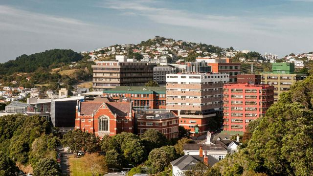 An aerial view of Victoria University of Wellington's Kelburn campus.