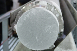Close-up of an ice core showing air bubbles, Roosevelt Island c. Nancy Bertler 2011-12