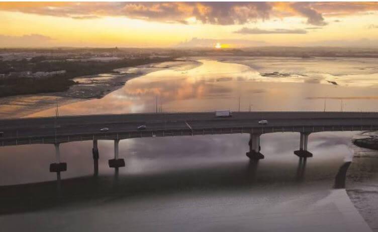 Auckland harbour bridge during lock down.