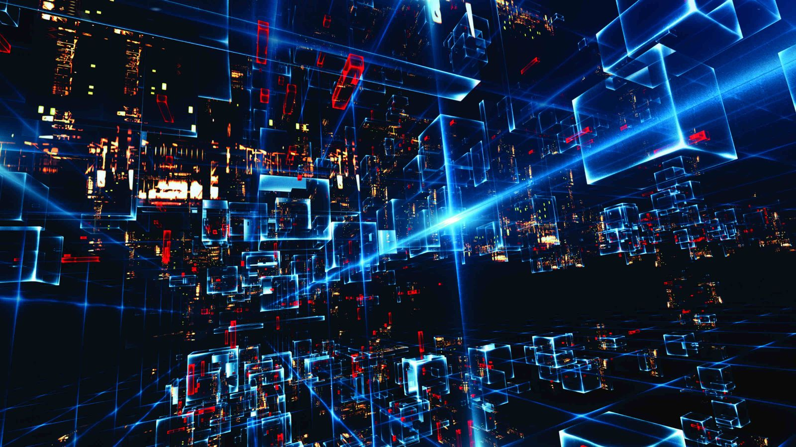 Abstract image of square cubes moving a long lines of light in a 3 dimensional black digital dimension.