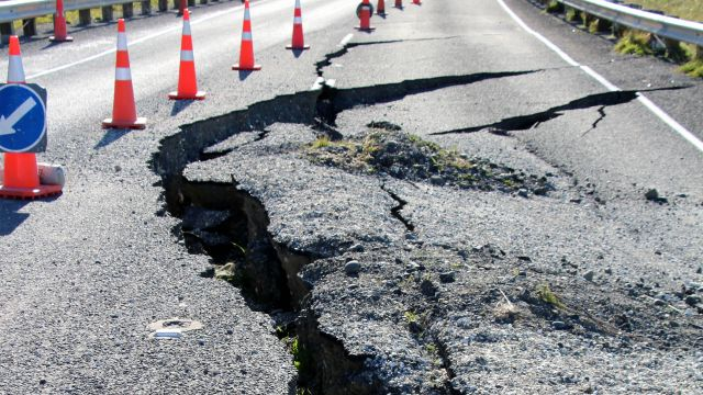A road damaged during an earthquake