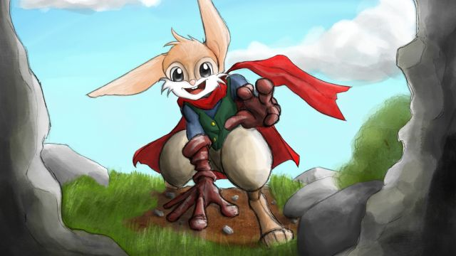 Cartoon  image of a rabbit wearing a green waistcoat and a red scarf.