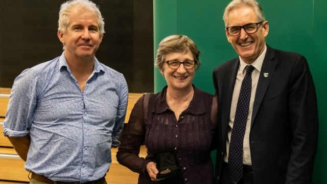 Professor Martha Savage with Dr Craig Stevens, left, and Professor Grant Guilford.
