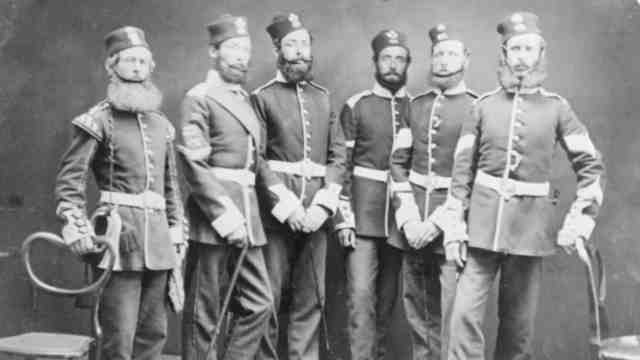 Soldiers of the Light Infantry Company, 65th Regiment. Ref:1/2-025608-f. Alexander Turnbull Library, Wellington, New Zealand.