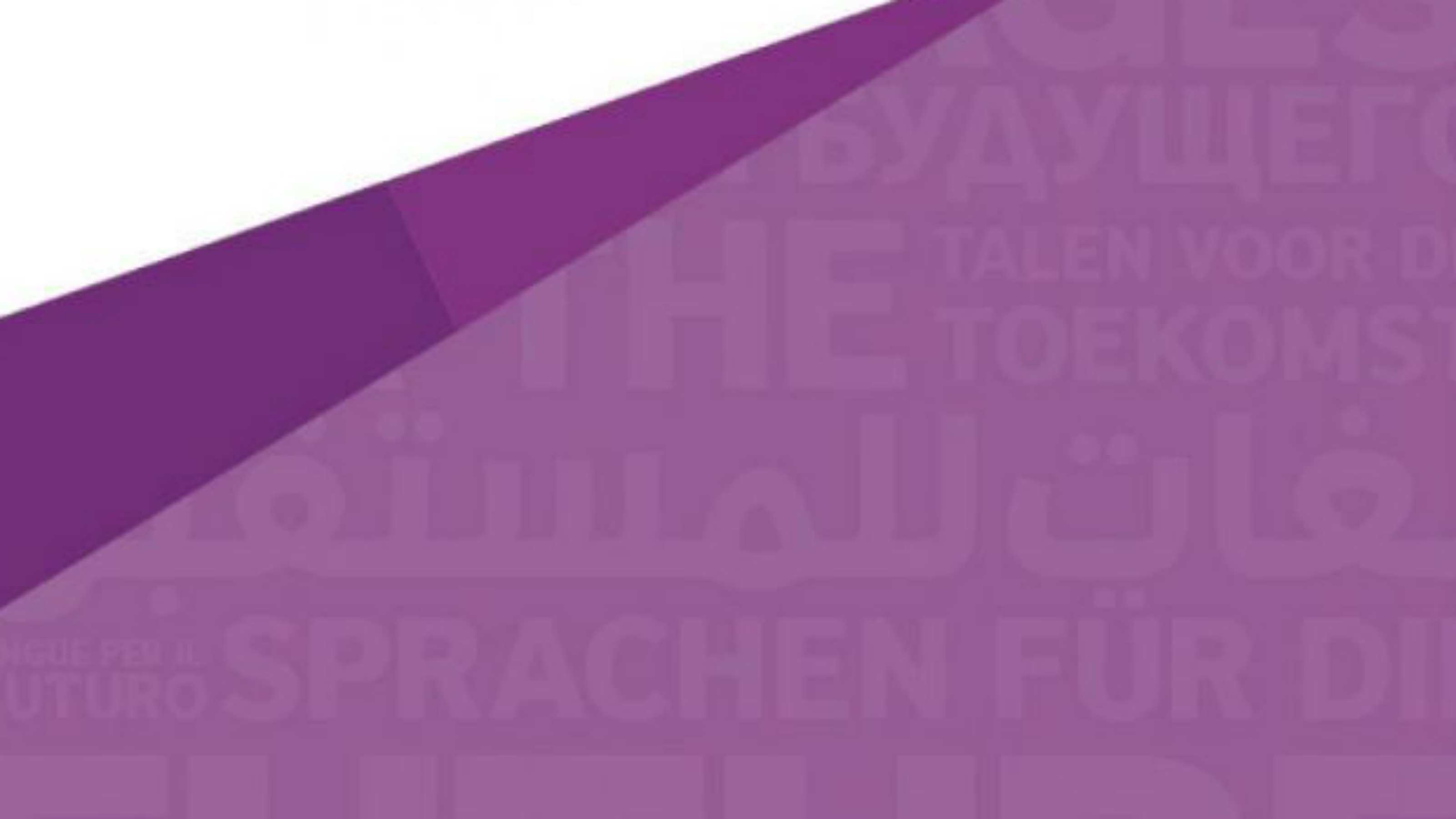 A purple and white banner for Languages for the Future.