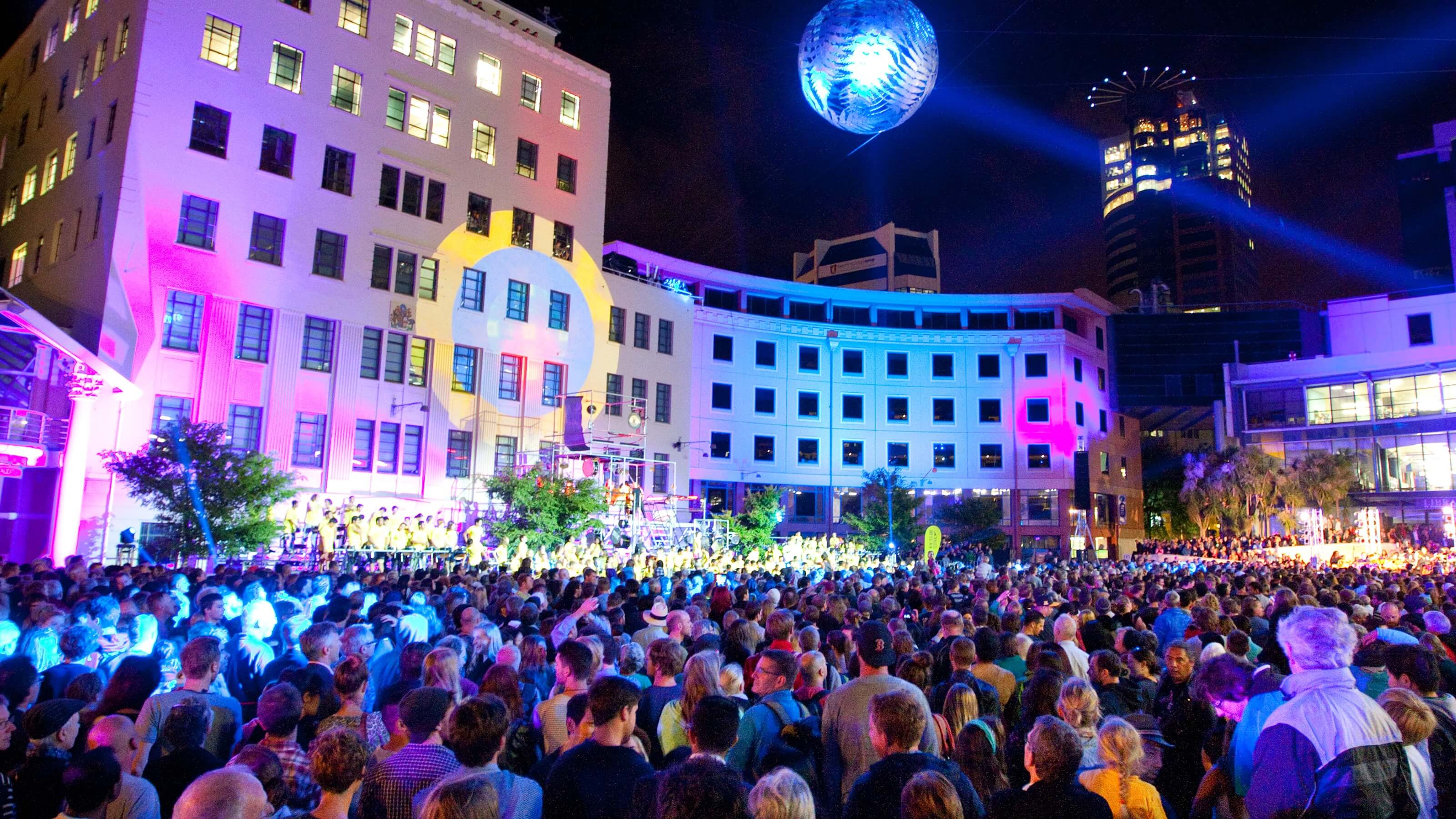 Crowd of people in Wellington civic square for lights festival.