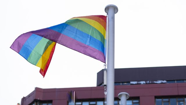 Rainbow flag flying opposite the von Zedlitz building.
