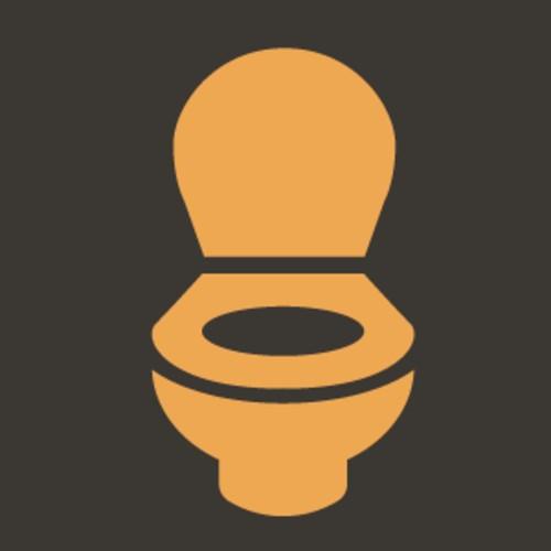 Yellow icon of a toilet