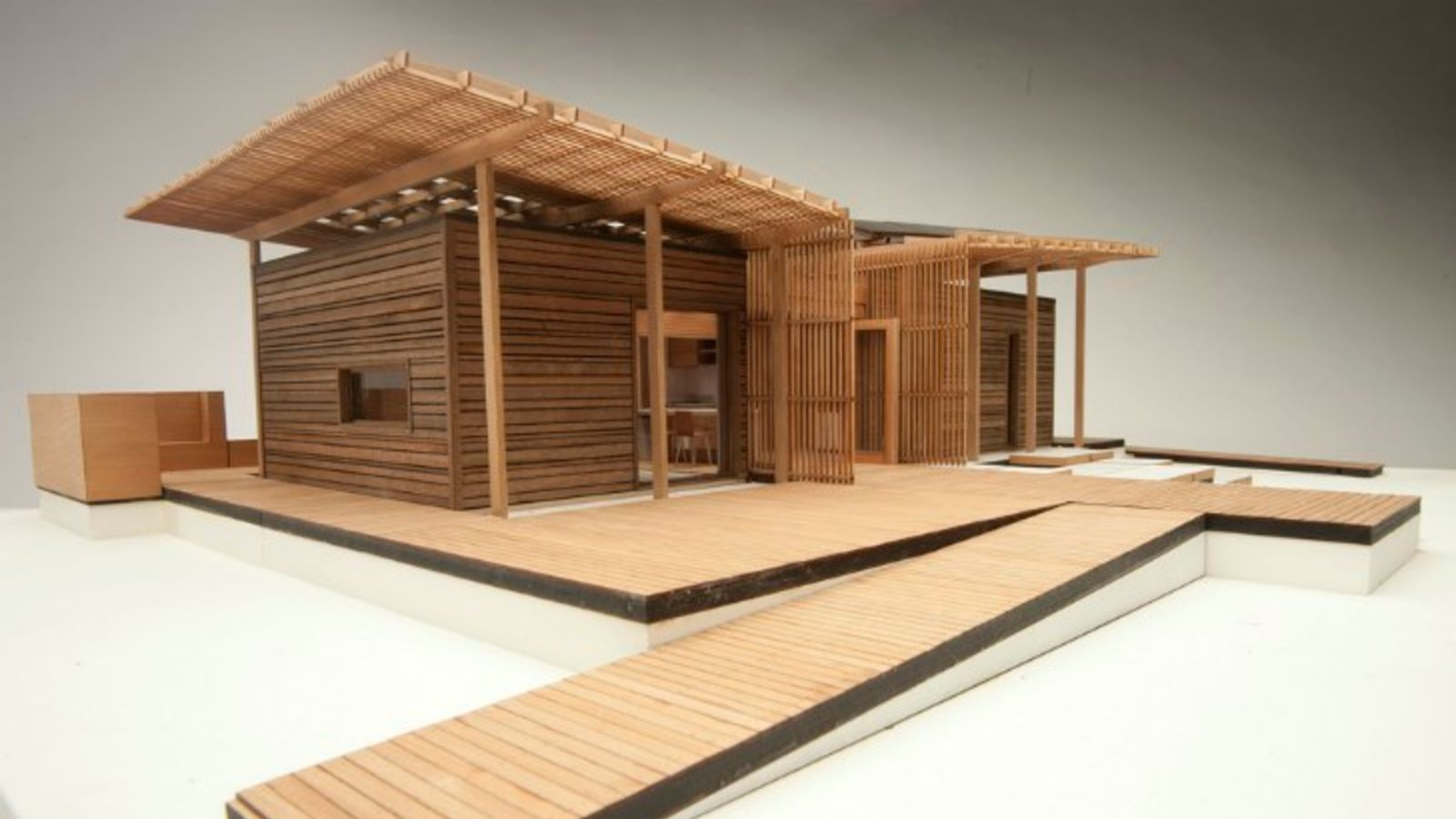 Scale wood model of First Light eco house