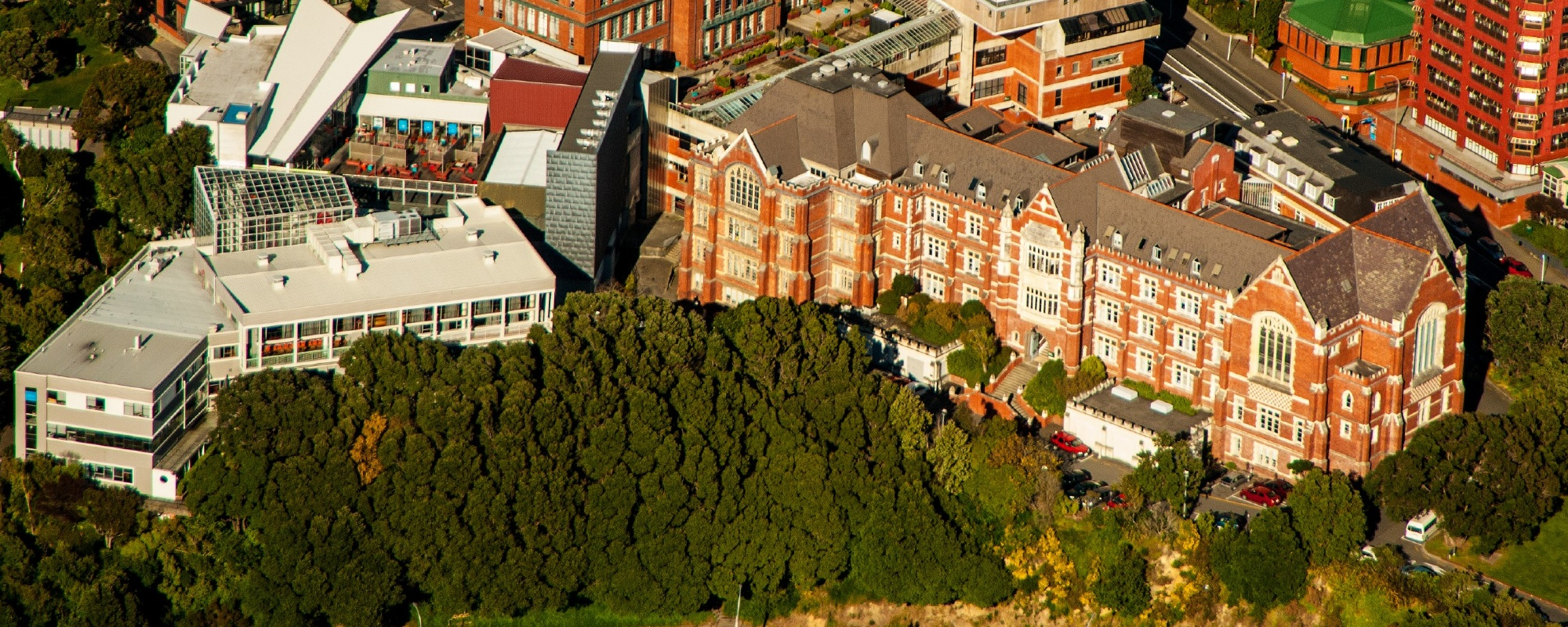 Aerial view of Kelburn campus on sunny day.