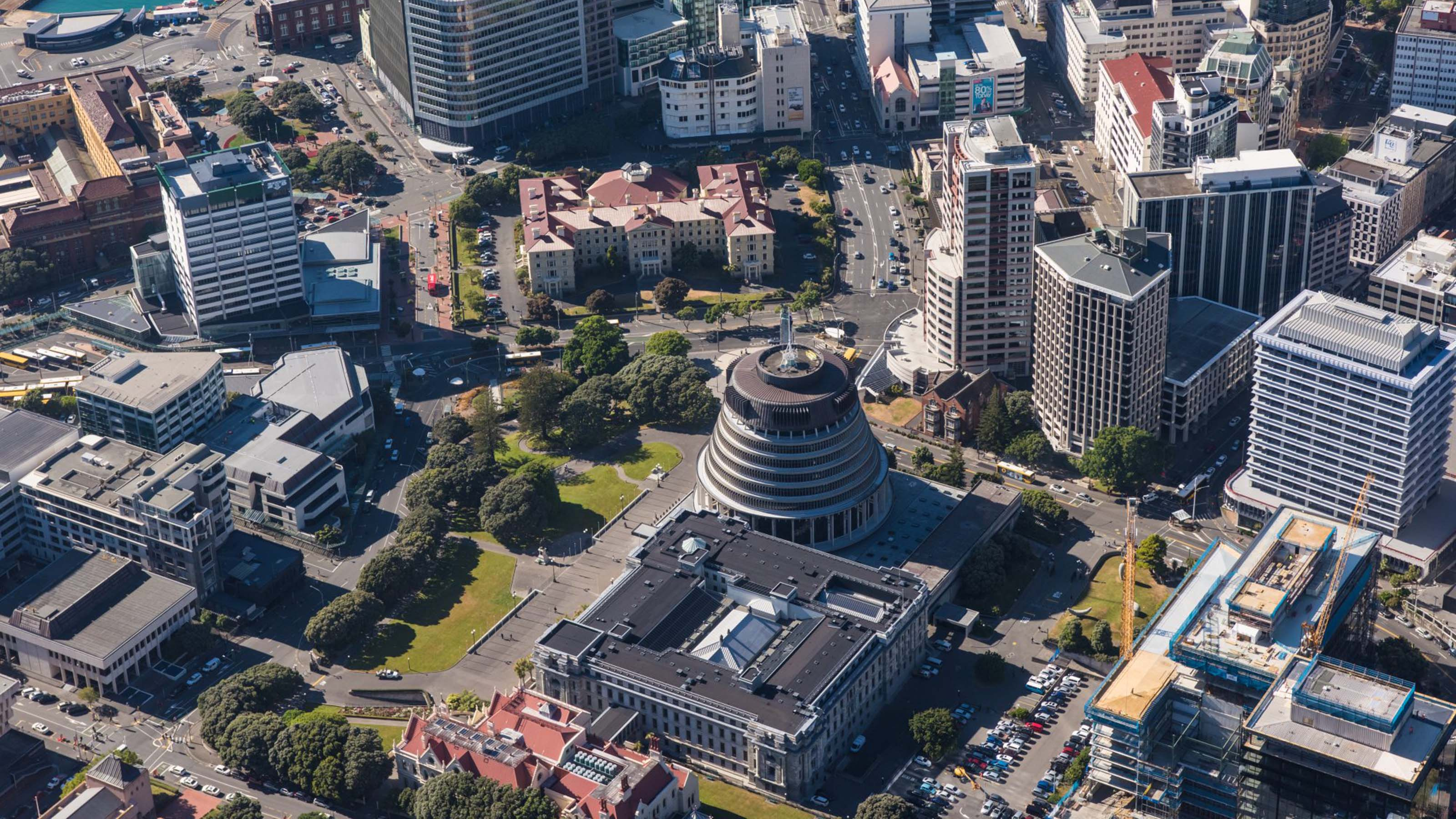 Aerial photo of Wellington CBD, including Parliament Buildings