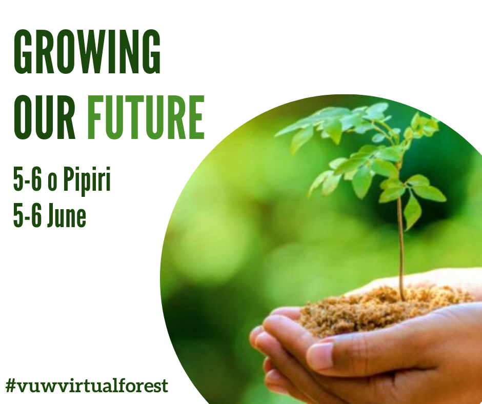 "Promo image – a hand holds a sapling in soil, text reads, ""Growing out Future 5-6 o Pipiri, 5-6 June #vuwvirtualforest""."