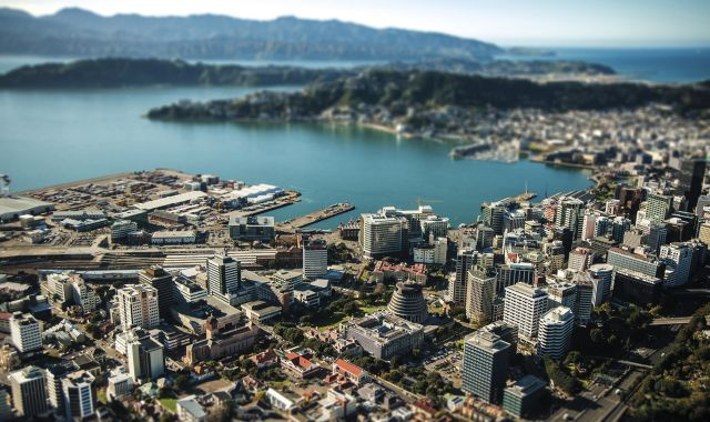 An aerial view of Wellington Harbour.