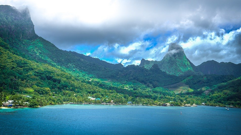 Moorea in French Polynesia taken from the sea.