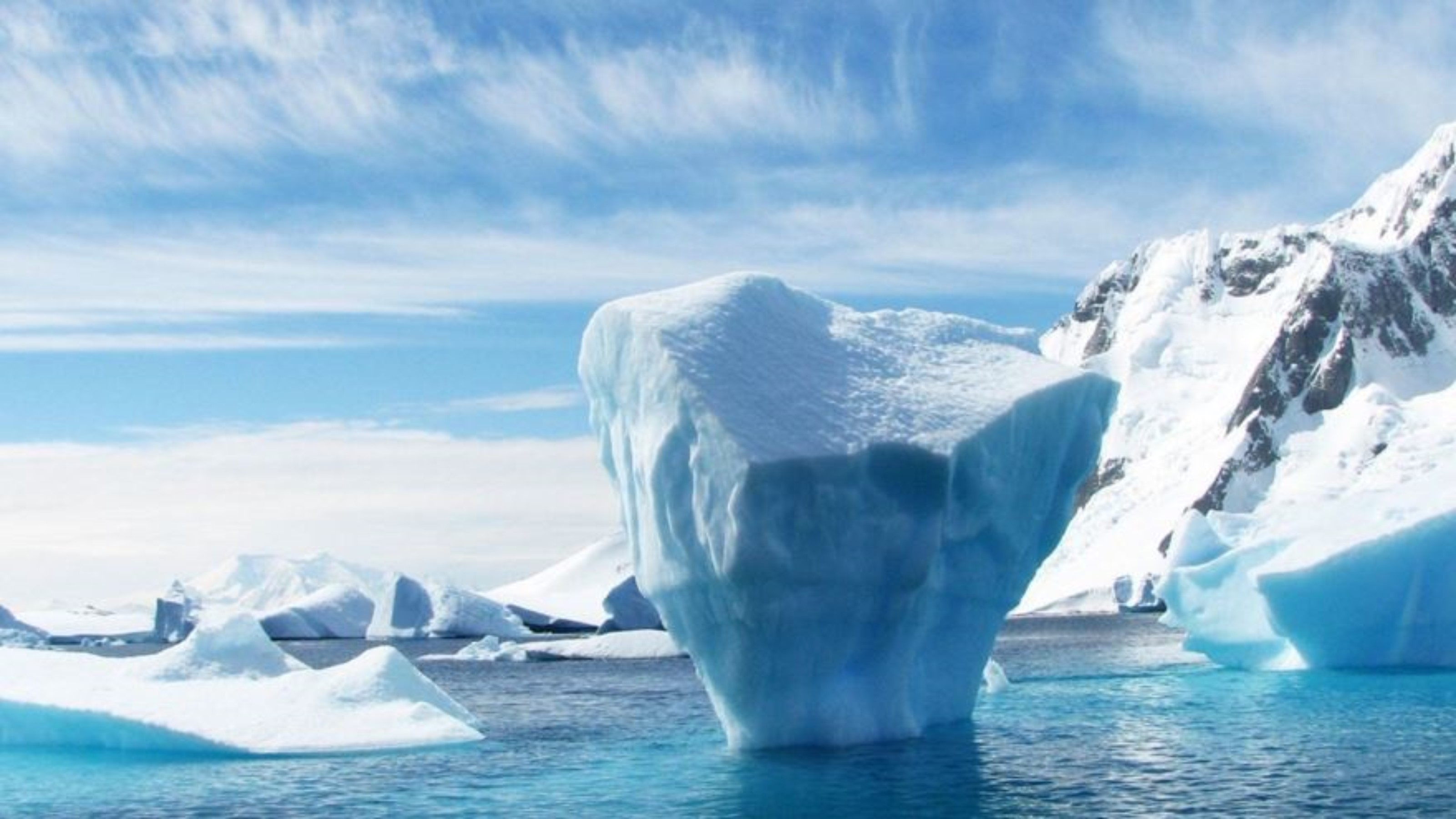 An iceberg in water.