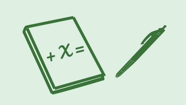 Green icon showing a pen and a notepad with a mathematical equation on it.
