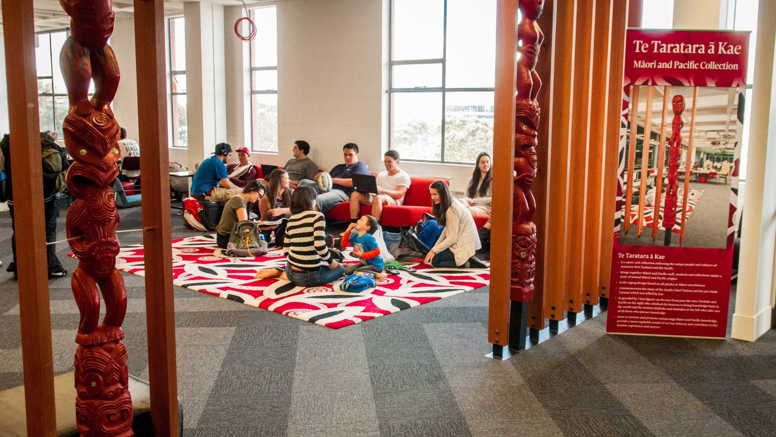 Maori study space within the Kelburn Library.