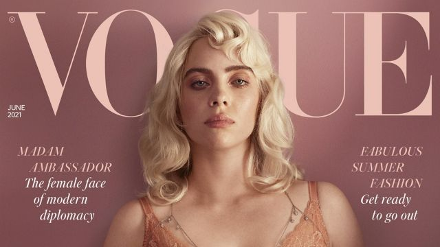 Singer Billie Eilish in a pink corset on the cover of Vogue magazine