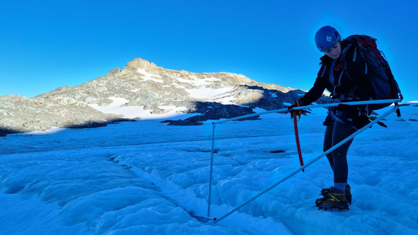 Lauren Vargo on Brewster Glacier, March 2021. Taken by Joanna Borzecki.