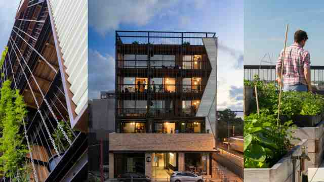 Image of the Commons, an example of collective housing in Melbourne. The building is on top of a shop, four stories high, with greenery on the veranders, plants climing up the facade of the building and a rooftop garden.
