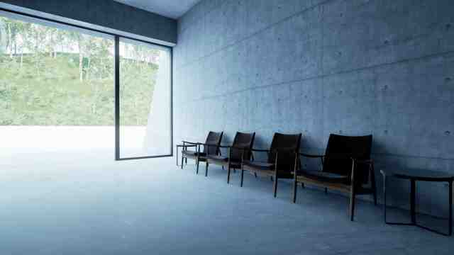 Concrete room looking out through an open door. The texture of the concrete can be seen and how it changes as you look closer to the door and there is more light – Chichu Art Museum, Japan. Designed by Tadao Ando and virtually reimagined by Eliot Blenkarne.