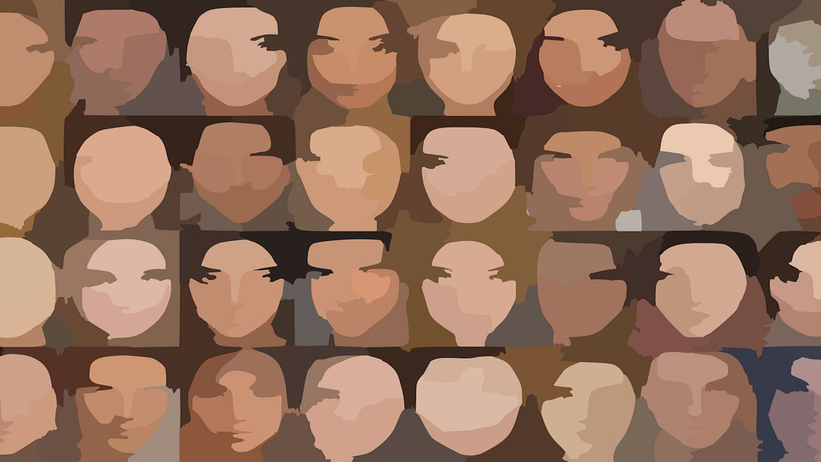 An image of many animated but blurry faces.