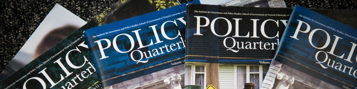 """Banner image – An image of four """"Policy Quarterly"""" magazines on a table."""