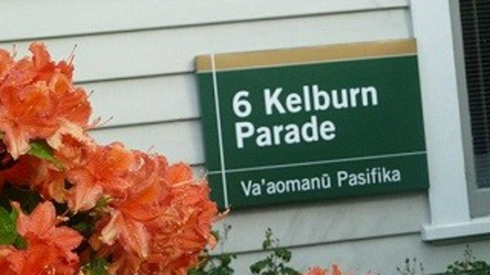 Sign on house saying 6 Kelburn Parade with flowers in foreground